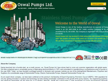 Pump Manufacturers India Oswal Pumps Limited